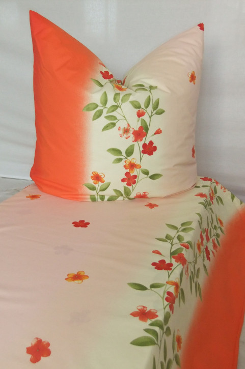 Bettwäsche Orange Blumendesign 100% Baumwoll-Renforce