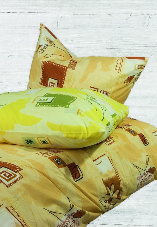 Bettwäsche Modischer Druck Gelb 100% Baumwoll-Renforce 155x200cm 80x80cm / Schlitzverschluss