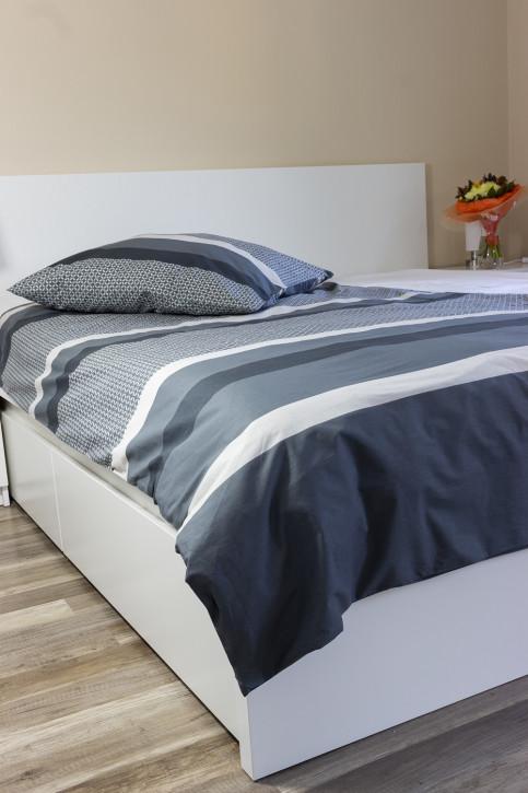Bettwäsche Weiß Grau 100% Baumwoll-Renforce