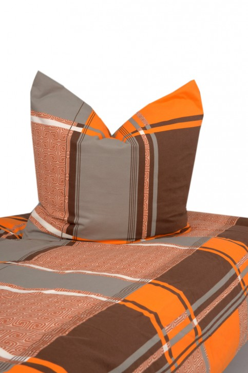 Bettwäsche Braun Orange bedruckt 100% Baumwolle Biber angerauht