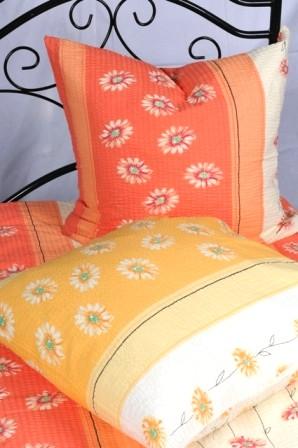 Bettwäsche Orange 100% Baumwolle Seersucker