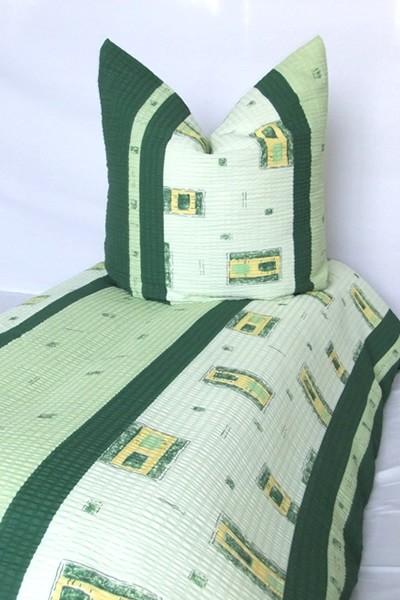 Bettwäsche Grün Gelb 100% Baumwolle Seersucker 135x200cm 80x80cm / Reißverschluss