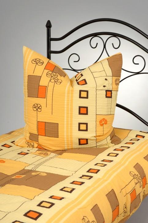 Bettwäsche Gelb Orange Braun 100% Baumwolle Seersucker 135x200cm 80x80cm / Reißverschluss