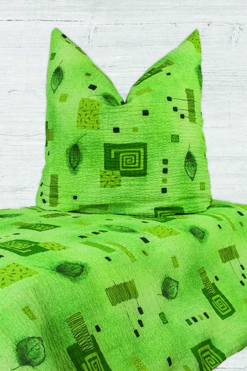 Bettwäsche Grün 100% Baumwolle Seersucker