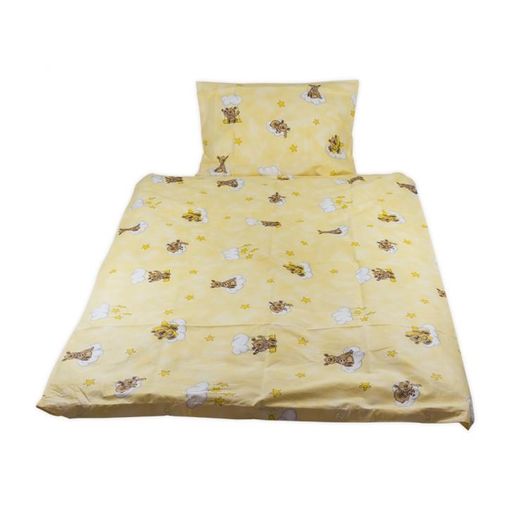 Kinderbettwäsche glatte Baumwolle Bärchen gelb Schlitzverschluss