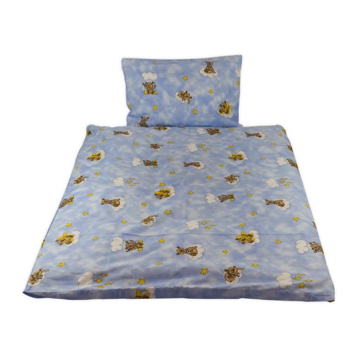 Kinderbettwäsche glatte Baumwolle Bärchen hellblau