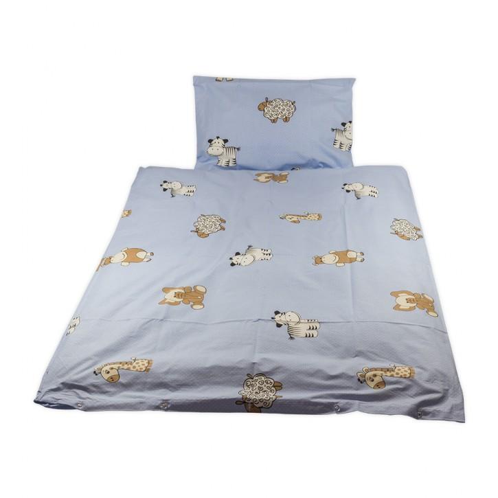 Kinderbettwäsche glatte Baumwolle Tiere hellblau
