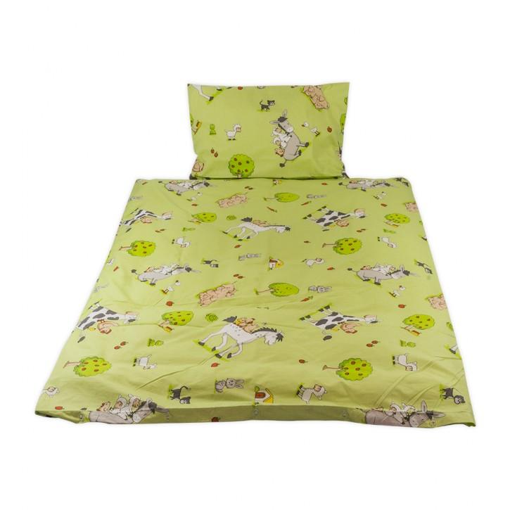 Kinderbettwäsche glatte Baumwolle Bauernhof grün Hotelverschluss