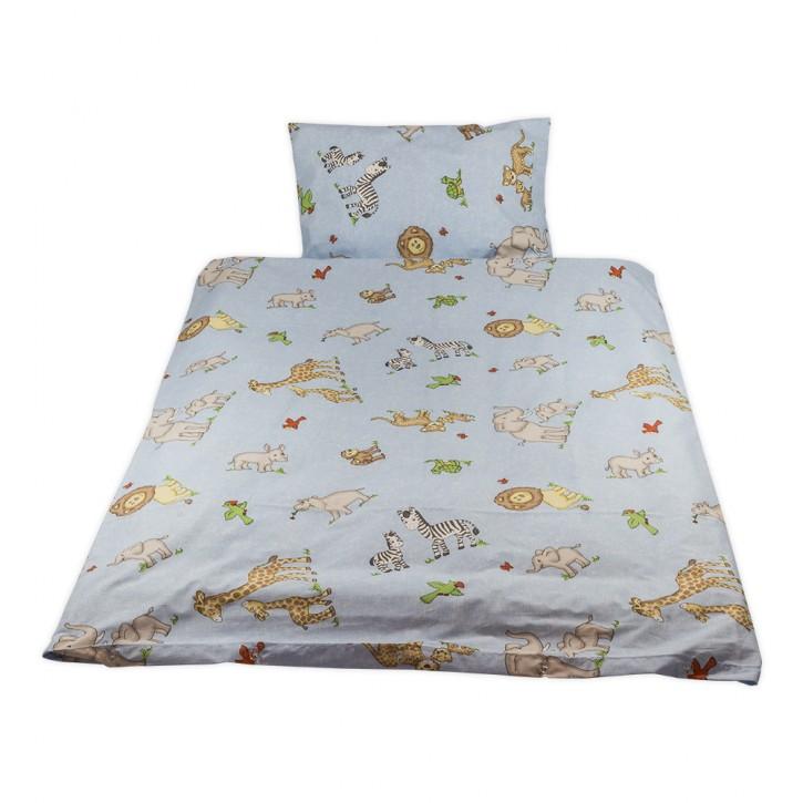 Kinderbettwäsche glatte Baumwolle Zootiere hellblau