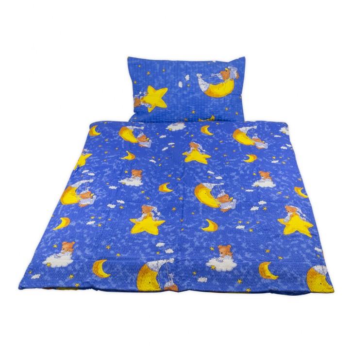 Kinderbettwäsche Blau Baumwolle Seersucker
