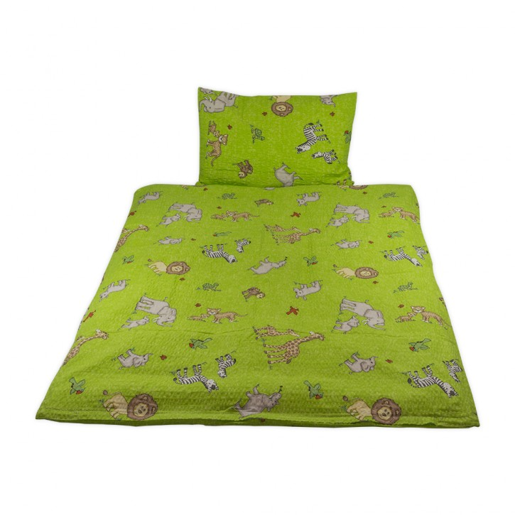 Kinderbettwäsche Grün Baumwolle Seersucker
