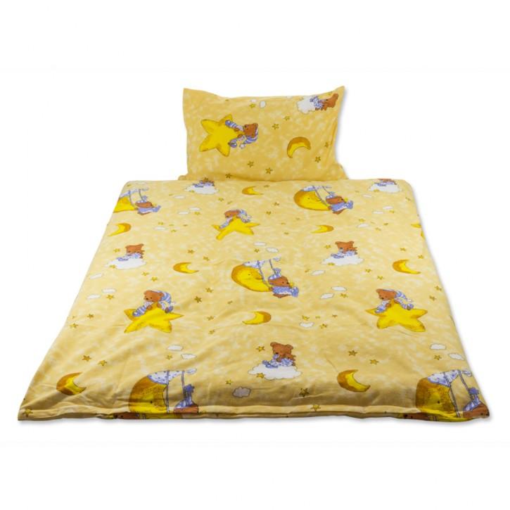Kinderbettwäsche Gelb Baumwolle Biber gerauht