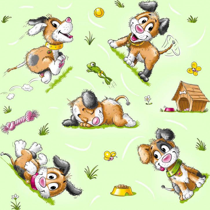 Kinderbettwäsche glatte Baumwolle hellgrün Hund