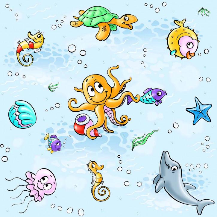 Kinderbettwäsche glatte Baumwolle hellblau Wassertiere