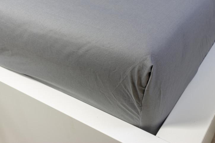 Spannbettlaken in Grau glatte Baumwolle 100x200cm