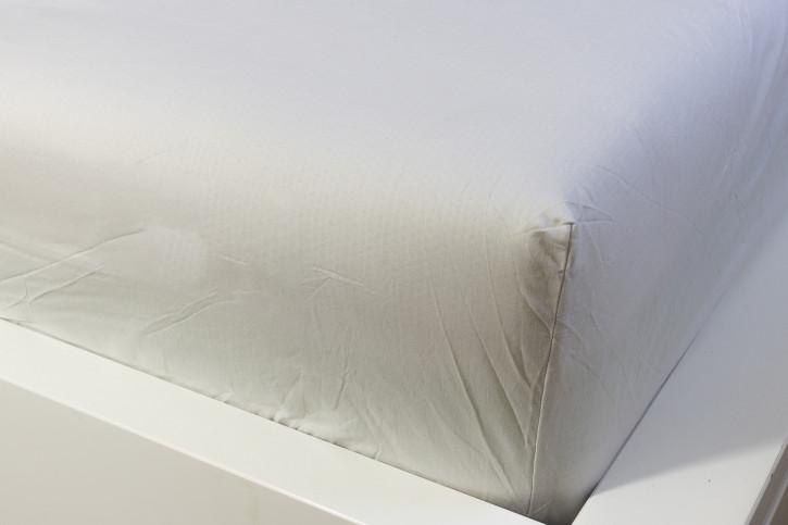 Bettlaken ohne Gummi Hellgrau glatte Baumwolle 160x250cm