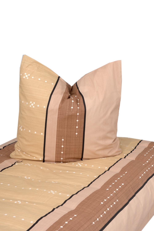 bettw sche beige braun bedruckt 100 baumwolle biber angerauht 155x220cm 80x80cm. Black Bedroom Furniture Sets. Home Design Ideas