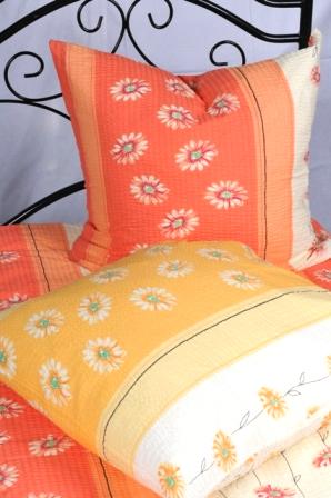 Bettwäsche Gelb 100 Baumwolle Seersucker 135x200cm 80x80cm